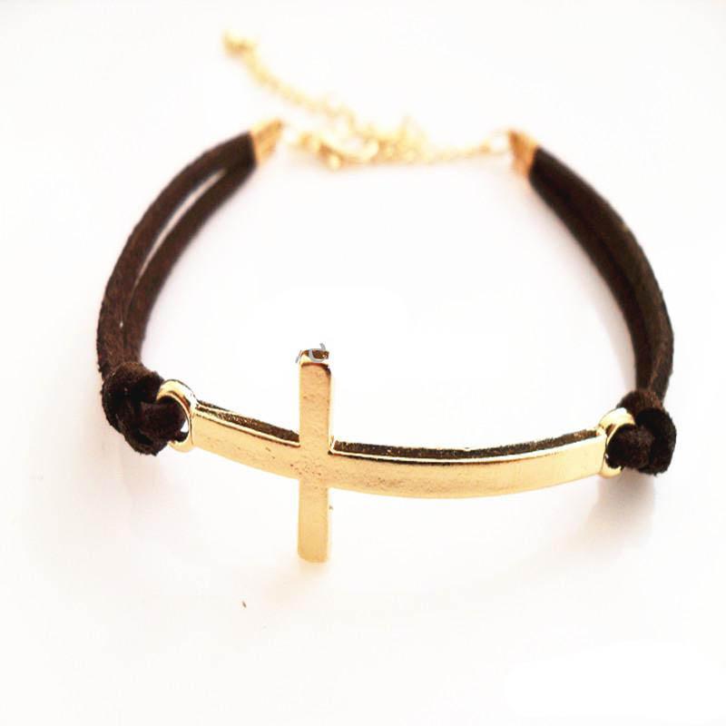 Cross Lederarmband Golden Cross Armband Candy Farbe Leder Kette sieben Farben