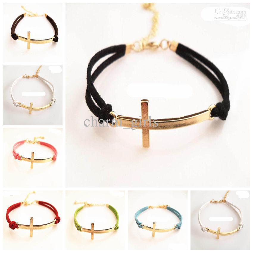 Cross lederen armband gouden kruis armband snoep kleur lederen ketting zeven kleuren