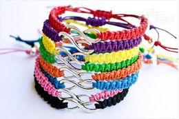 Wholesale Cross Leather Cord - 10pcs   LOT Antique Silver Sideways Infinity Wish Bracelet   Wax Cords Bracelet   Macrame Bracelet