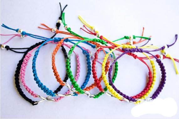 / lotto argento antico obliquamente desiderio braccialetto infinito / braccialetto di corde di cera / braccialetto macramè