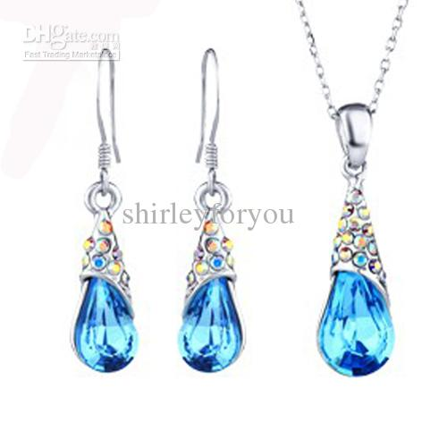 Blue crystal pendant jewelry set neoglory made with for Irish jewelry stores in nj