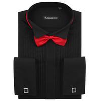 uzun kollu siyah polo gömlek toptan satış-Siyah Frenchy Uzun Kollu Gömlek Damat Ücretsiz Kol Düğmesi manşet düğmesi Ile gömlek giymek NO: 1
