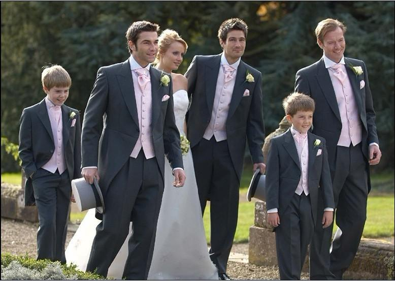 Morning Style Custom Made Charcoal Groom Tuxedos Notch Lapel Best ...