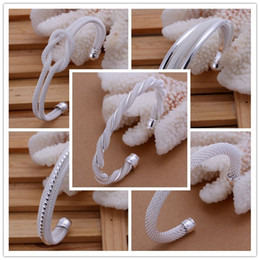 Wholesale Ordering Bracelet Cuffs Wholesale - Mixed Order 925 Sterling Silver Plated Mesh Net Cuff Bracelets Bangle #BA113