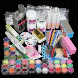 Wholesale 42 Acrylic Nail Kits - wholesale - 42 Acrylic Powder Liquid Brush Glitter Clipper Primer File Nail Art Tips Set Kit