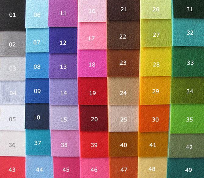 Бесплатная доставка DIY полиэстер войлок ткани нетканый лист для ремесленных работ 49 цветов на выбор-300x300x1mm 49 шт. / лот LA0076
