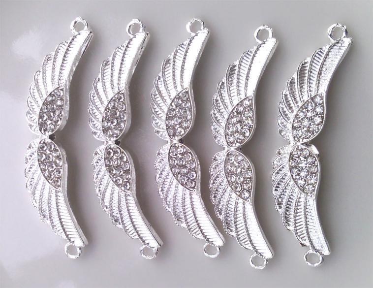 2013 nouvel argent plaqué en métal en alliage de cristal strass Angel ailes Bracelet Connectors Bracelet Charms Bijoux Trouver des composants /