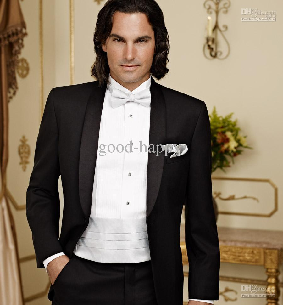 Custom Made Black Groom Tuxedos Wedding Suits Prom Clothing Jacket Pants Waistcoat Tie Dh106 Groomsmen Men Suit From Trade158