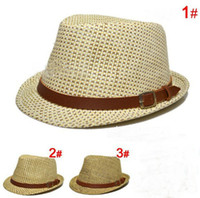 new arrival kids fedora straw girls boys jazz hat cap childr...