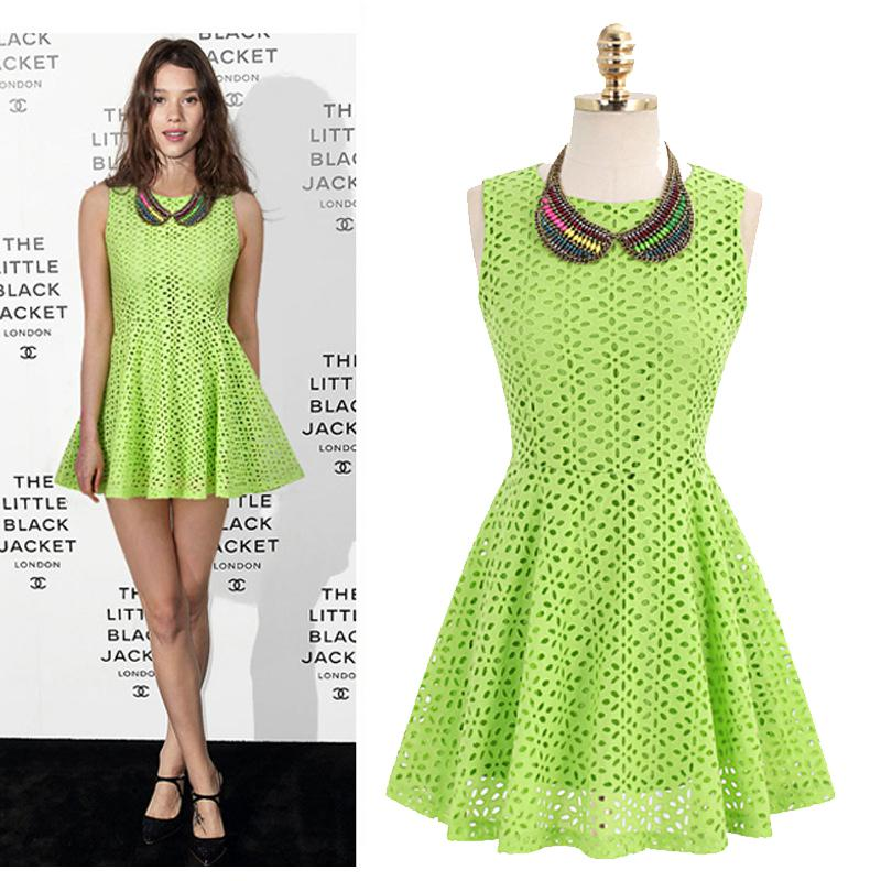 2013 most popular neon colors cotton short lace dress gold