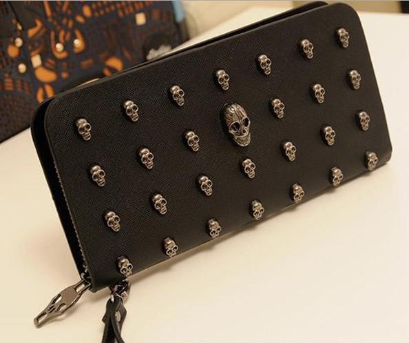 2014 moda portafogli per uomo donna lungo della borsa della borsa della borsa portafoglio che ristabilisce i sensi antichi punk cranio rivetti borse trasporto di goccia 1 pz