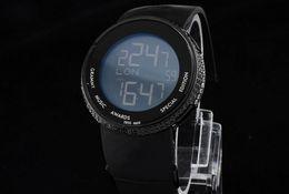 Wholesale Time Diamonds Watches - Luxury Men's Round Diamond Quartz Black LCD Digital 114 Mens Watch Multiple Time Zone Rubber Watches