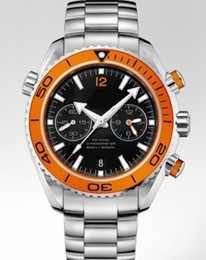Wholesale luxury watches chrono - Luxury Watches Brand New Planet Ocean Chrono Auto Orange Bezel Quartz movement Mens Watch Stainless Steel Sport Men's WristWathes