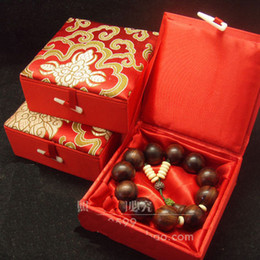 Wholesale Jewellery Gift Box Packaging - Cotton filled Jewellery Gift Boxes Large Silk Printed Bangle Bracelet Box High End Packaging Case size 12x12x4.5 cm 2pcs lot Free shipping