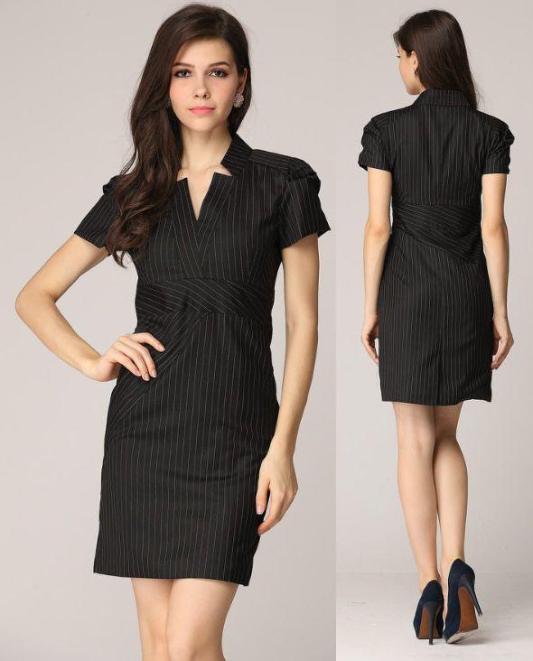New Designer Women Fashion Stripe Dress Elegant OL Office ...