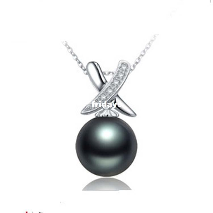 Wholesale spot black pearl sterling silver necklace pearl necklace wholesale spot black pearl sterling silver necklace pearl necklace south sea pearl hackers shell beads pendant turquoise jewelry wholesale jewelry from aloadofball Image collections
