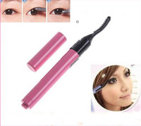 Wholesale mini portable eyelash - Wholesale - Mini Pink Portable Electric Heated Eyelash Curler Pen shape eyelash curlers