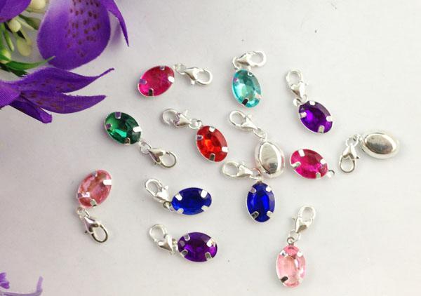 15 stks gemengde kleuren van strass ovale clip op charmes # 22661