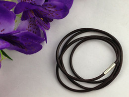Wholesale Strand Chains Leather Necklace - 20 PCS 3mm Fashion Brown Leather Cord Necklaces 60cm #22673