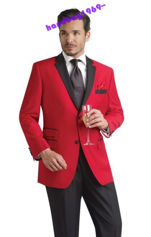 Customize Size Red Men's Wedding Dress Groom Tuxedos Suit Business ...