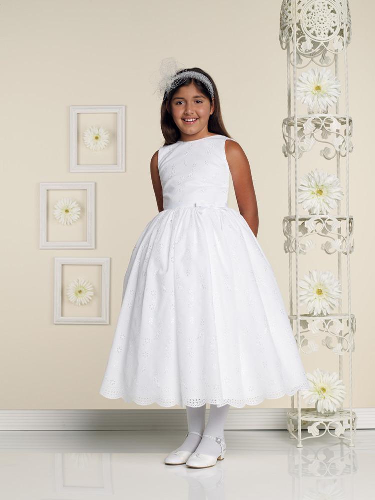 Kids for wedding ball gown jewel tea length white satin for Kids wedding dresses online