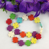Wholesale Howlite Crosses Wholesale - 1 Strand of Mixed Colours Howlite Turquoise Cross Beads #22747