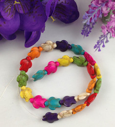 Wholesale Turquoise Turtles Beads - 1 Strand of Mixed Colours Howlite Turquoise Turtle Beads #22752