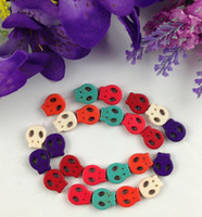 Wholesale Wholesale Howlite Skull Bead - 1 Strand of Mixed Colours Howlite Turquoise Skull Face Beads #22756