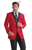 Wholesale Dh Pants - Two Buttons Red Groom Tuxedos Notch Lapel Best Man Groomsmen Blazer Men Business Suits Bridegroom (Jacket+Pants+Girdle+Tie) DH:9