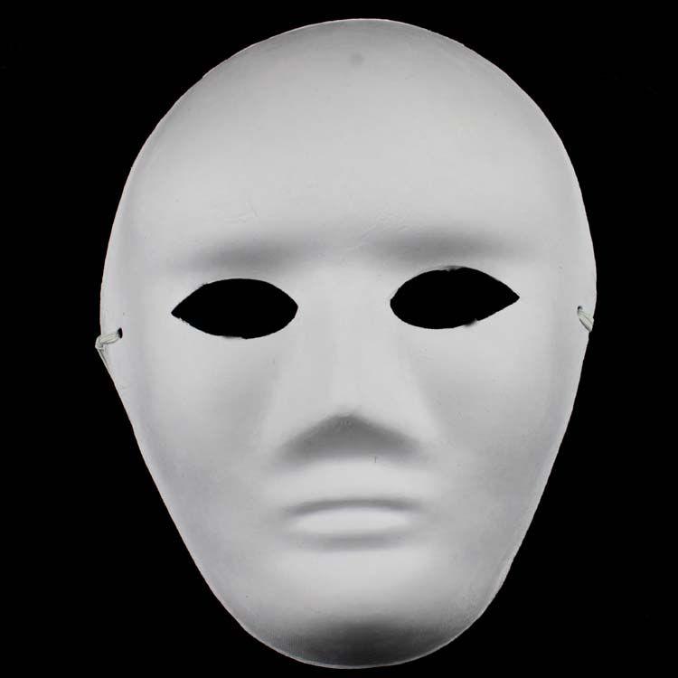 Uomini non verniciati Blank Maschere Bianche Faccia Full Paper Ambientale Maschere di Pasta FAI DA TE Belle Arti Maschere Maschere Peso netto 40g 10 pz / lotto Gratis