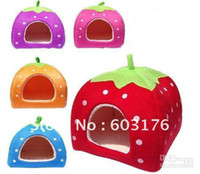 Livraison gratuite Yurt Style Strawberry Folding Kennel Cute Pretty Cat Dog Bed Very Snug Pet House