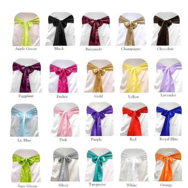 SATIN SASH Chair Bow Wedding Party Banquet Decorations Shimmering Sashes Event Festive Supplies Choose Color NEW