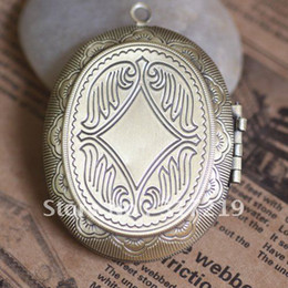 Wholesale Craft Pendant Frame Wholesale - DIY Necklace Pendants,Brass Antique Bronze Pendant European style Prayer Craft Photo Frame Locket