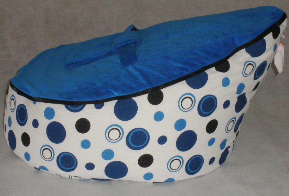 Hot Sell Baby Bean Bag Children Sofa Chair Cover Blue Pink Green Dots Printed Fabric Soft Bed With Double Layers Harness Strap Free Ship