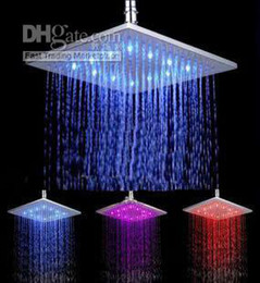 Wholesale Color Changing Overhead Shower - Free shipping 8 inch brass ceiling led overhead rain shower Color Changing LED Light Rainfall Fixed