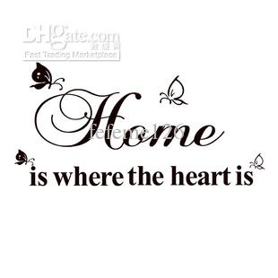 Home Is Where The Heart Lettering Quotes Sayings Removable