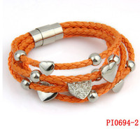 Wholesale Stainless Stell Charms - Fashion Stainless steel magnetic clasp 3 laps Multilayer braid Leather Bracelets with stainless stell charm handmade PI0694