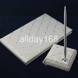 Wholesale Wedding Diamond Guest Book - Wedding Party Accessories Supplies Compact Personalized white diamond-type lattice Wedding Guestbook Pen