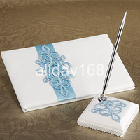 Wholesale Guestbook Sets - Wedding Party Accessories Supplies Compact Personalized blue embroider design Wedding Guestbook Pen