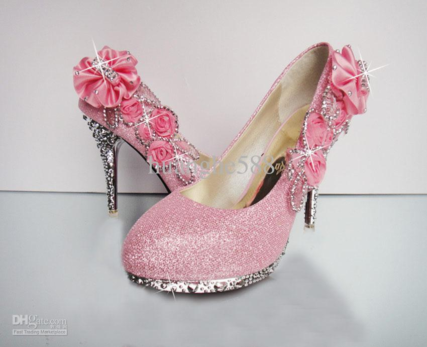 Pink High Heels For Wedding: Diamond Wedding The Bride Wedding Shoes High Heel Wedding