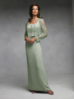 Wholesale Evening Ceremony Dress - Hot sale! spaghetti strap mother of the bride dresses 2013 Ceremony lace sheath light green evening gowns with jacket