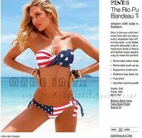 Wholesale Bikini Push Up Star - New Fashion womens Super push up steel tube top halter-neck swimwear bikini stars and stripes american flag Free shipping