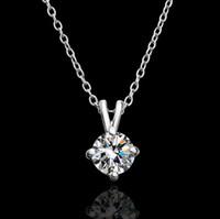 Wholesale Diamonds Czech - Top quality plated 18K gold Czech diamond pendant necklace engagement jewelry free shipping 10pcs lot