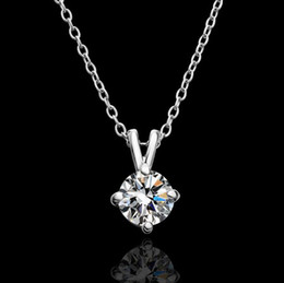 Wholesale Czech Crystal Necklaces - Top quality plated 18K gold Czech diamond pendant necklace engagement jewelry free shipping 10pcs lot