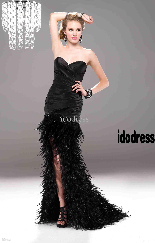 2013 Black Feather Elegant Evening Dresses Women Ceremony Front ...
