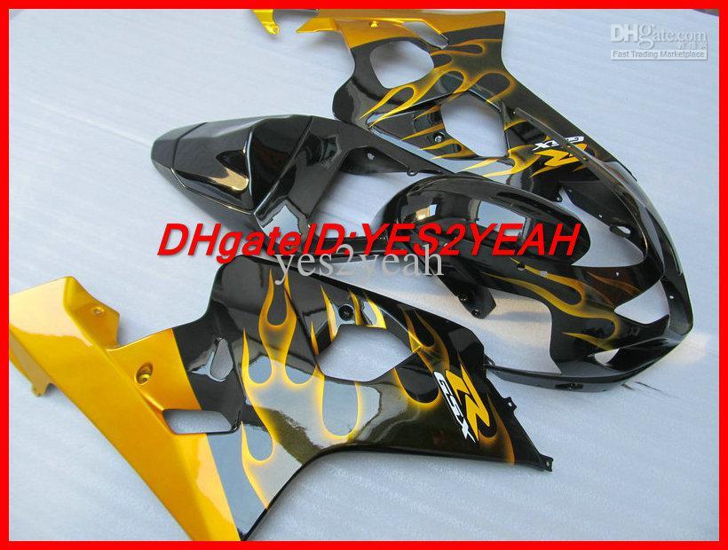 Kit carénage carénage noir Golden Flames pour SUZUKI GSXR 600 750 K4 2004 2005 Carrosserie GSXR600 GSXR750 04 carénage injection
