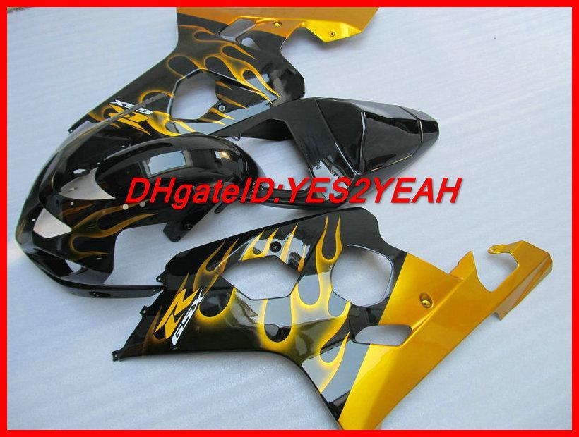 黄金炎黒フェアリングボディキット鈴木GSXR 600 750 K4 2004 2004 2005ボディワークGSXR600 GSXR750 04 05注入フェアリングセット+ギフト