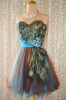 Wholesale Sweetheart Tulle Blue Homecoming Dress - Newest Peacock Sweetheart Short Prom Dresses Appliques Beads Mini Short Homecoming Party Dresses Special Occasion Dresses