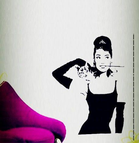 Lovely [Sweet Life]Audrey Hepburn   Wall Decals Wall Stickers Art Mural Home Decor  Wall Decoration Stciekr R 37 Part 8