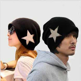 Wholesale Golf Punk - Men women star hat black fashion punk rock goth beanie skull couple cap *UK* #8108